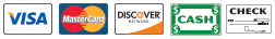We Accept Visa, MasterCard, Discover, Cash, and Checks